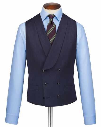 Navy adjustable fit twill Italian luxury suit waistcoat