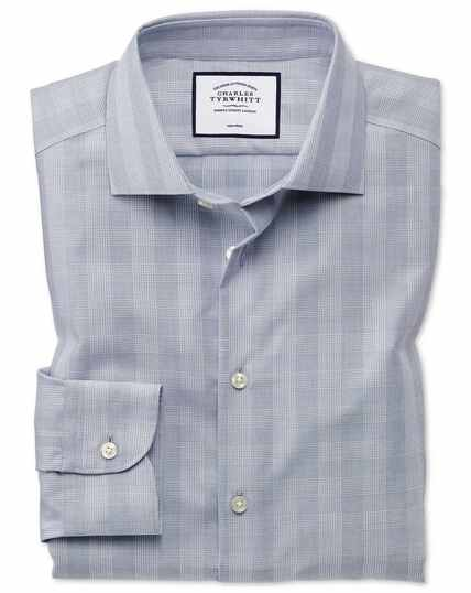 Classic fit business casual non-iron grey check shirt