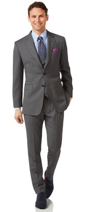 Grey slim fit birdseye travel suit