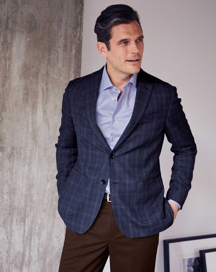Slim fit indigo blue Italian wool blazer
