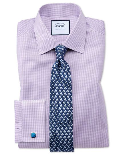 Slim fit non-iron lilac puppytooth shirt
