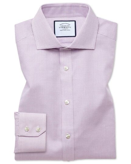 Slim fit spread collar textured puppytooth pink shirt