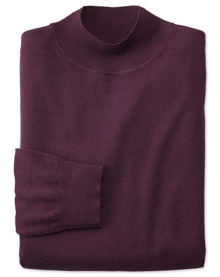 Pullover mit Rollkragen aus Merino in Weinrot