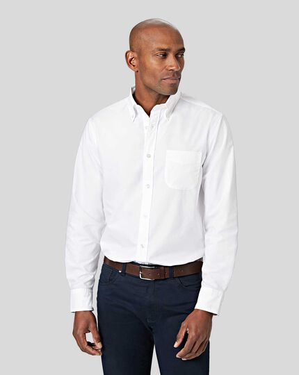 Button-Down Collar Non-Iron Stretch Poplin Shirt - White