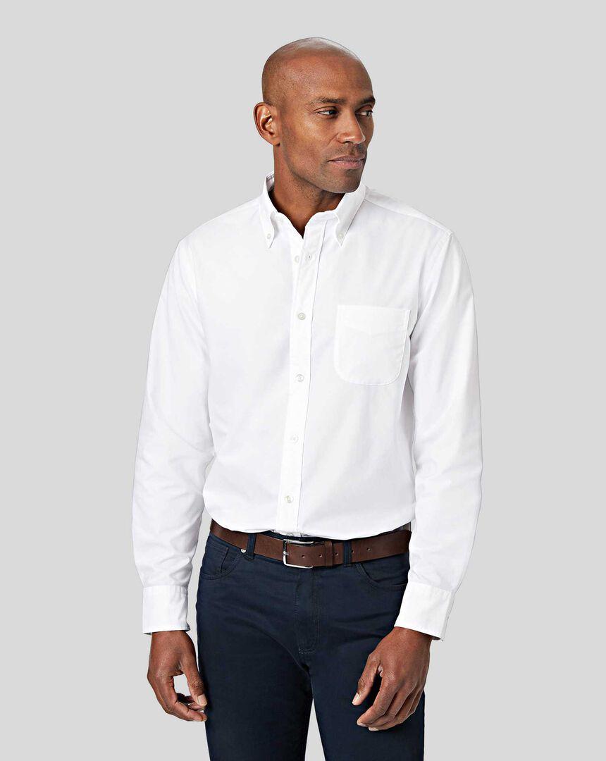 Button-Down Collar Non-Iron Stretch Poplin Shirt - White