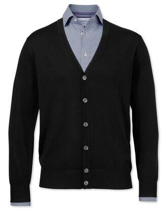 Gilet noir en laine mérinos