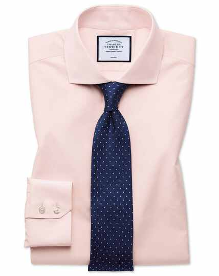 Extra slim fit non-iron Tyrwhitt Cool poplin peach shirt