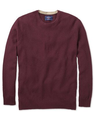 Wine merino cotton crew neck sweater