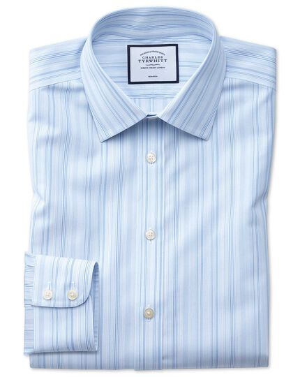 Classic fit non-iron blue multi stripe shirt