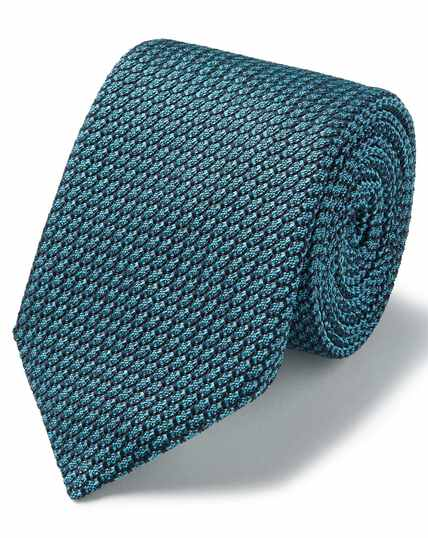 Aqua blue silk Grenadine Italian luxury   tie