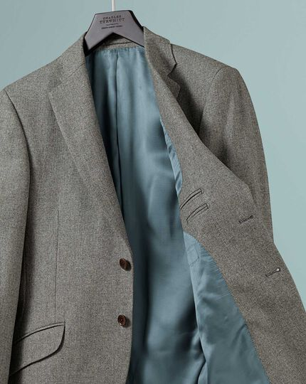 Classic fit British wool with cashmere jacket in silver