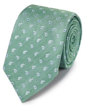 Green and sky blue silk linen design classic tie