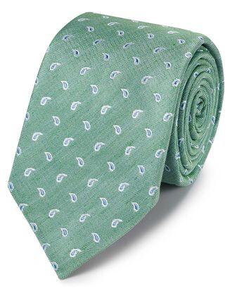 Cravate classique verte et bleu ciel en lin et soie à motif