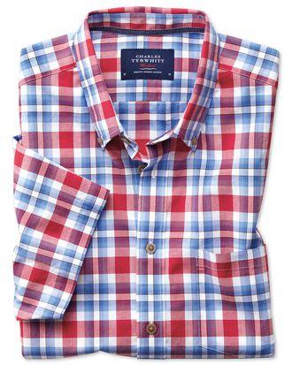 Classic Fit Kurzarmhemd aus Popeline in Himmelblau und Rot mit Karos