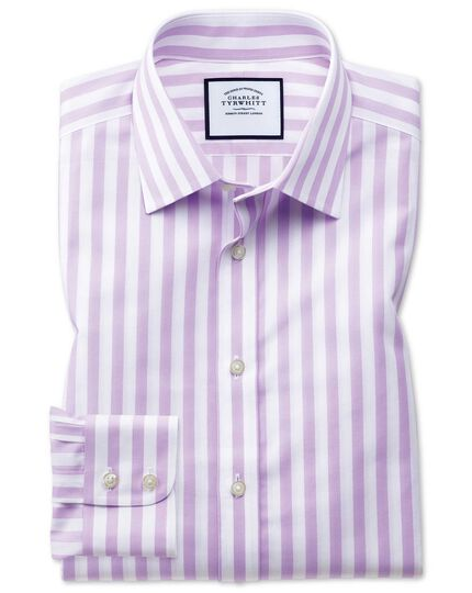 Slim fit non-iron purple wide bengal stripe shirt