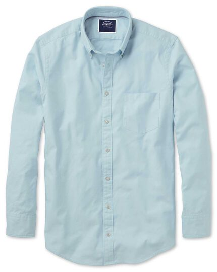 Classic fit light green plain button-down washed Oxford shirt