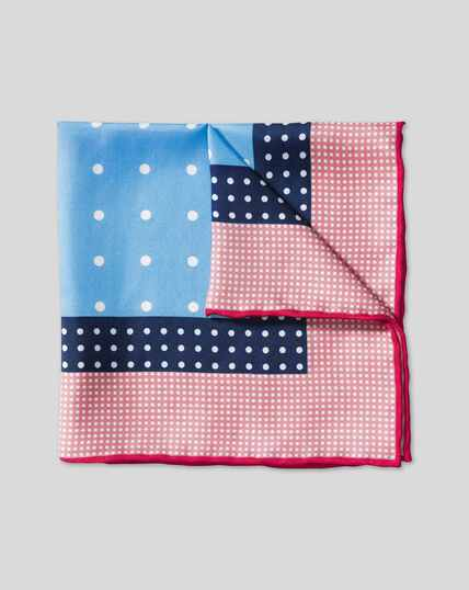 Multi Spot Pocket Square - Pink & Sky