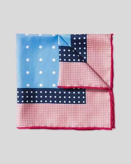 Multi Spot Pocket Square - Pink & Sky