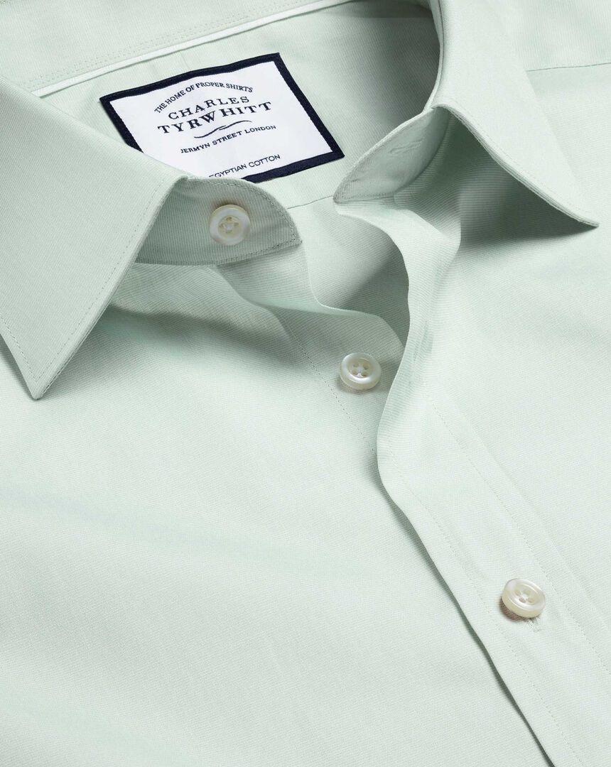 Semi-Cutaway Collar Egyptian Cotton Poplin Shirt - Green