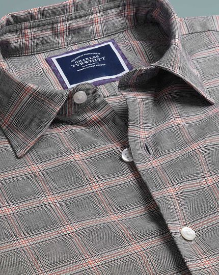 Slim fit orange and grey Prince of Wales check cotton with TENCEL™