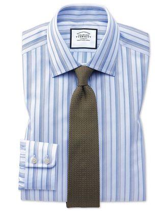 Slim fit sky blue multi stripe Egyptian cotton shirt