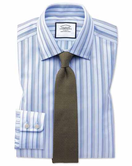 Slim fit sky blue multi stripe Egyptian cotton shirt