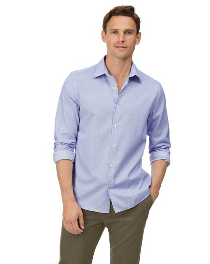 Extra slim fit soft washed textured grid check sky blue shirt