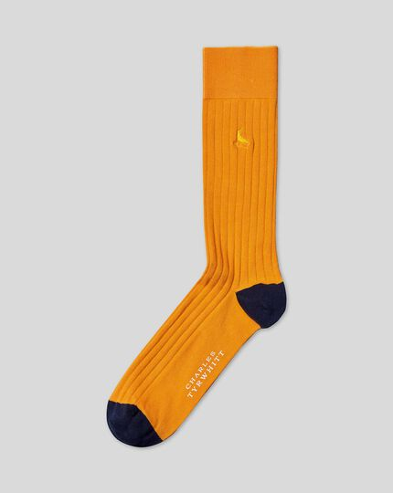Cotton Rib Socks - Mustard