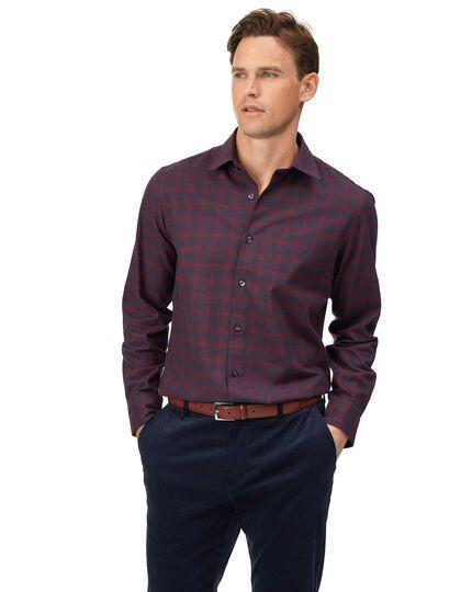 Slim fit cotton with TENCEL™ burgundy check shirt