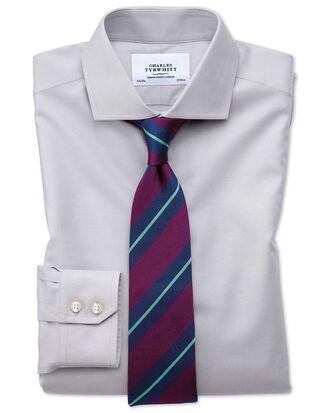 Extra slim fit cutaway non-iron twill grey shirt