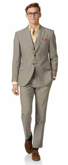 Costume naturel en panama britannique slim fit