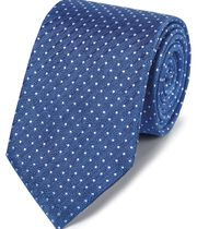 Royal blue linen silk spot classic tie
