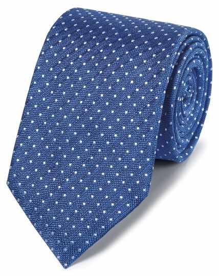 Klassische Krawatte Leinen/Seide mit Punkten in Königsblau