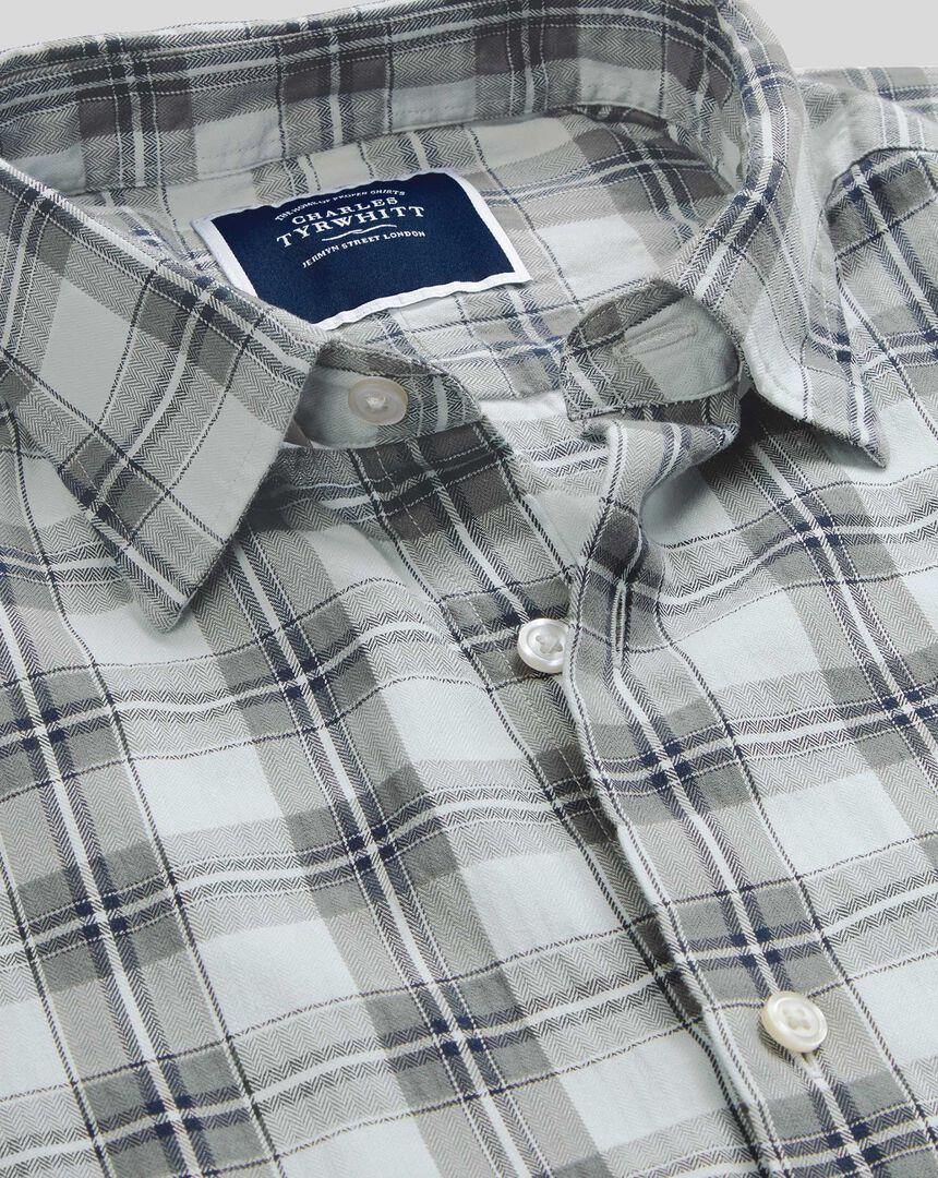 Classic Collar Crinkly Check Shirt - Grey