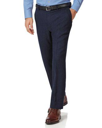 Slim Fit Hose aus Wollflanell in Marineblau