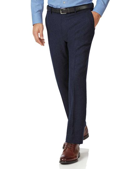 Navy slim fit wool flannel pants