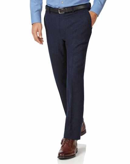 Navy slim fit wool flannel trousers