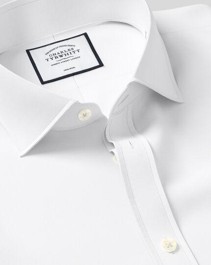 Bügelfreies Popeline-Hemd mit Haifischkragen  - Weiß