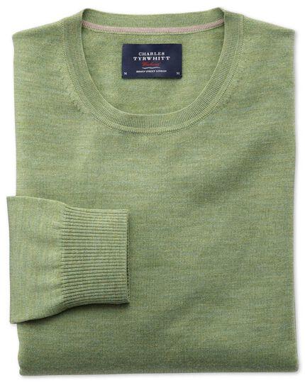 Light green merino wool crew neck jumper