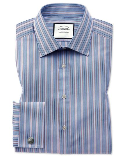 Slim fit red multi stripe Egyptian cotton shirt
