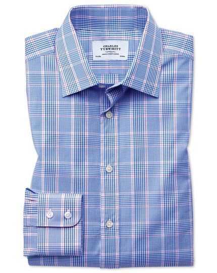 Classic fit Prince of Wales check blue and pink shirt