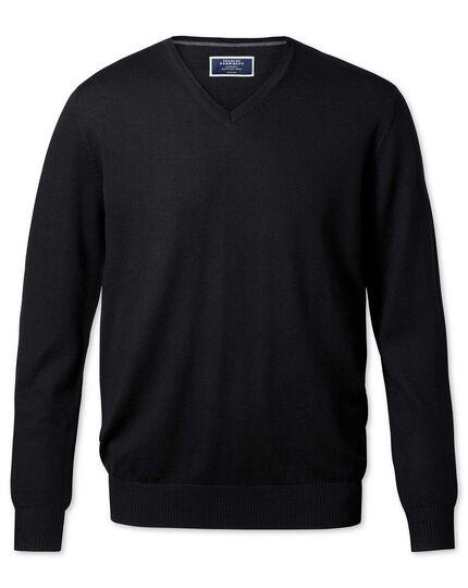 3885c575266 Black merino wool v-neck jumper