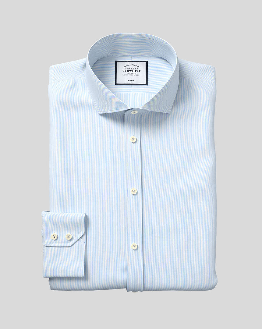Cutaway Collar Non-Iron 4-Way Stretch Hairline Stripe Shirt - Sky