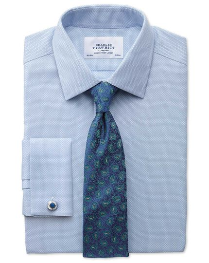 Classic fit non-iron honeycomb sky blue shirt
