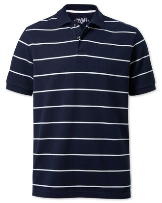 Navy and white stripe pique polo