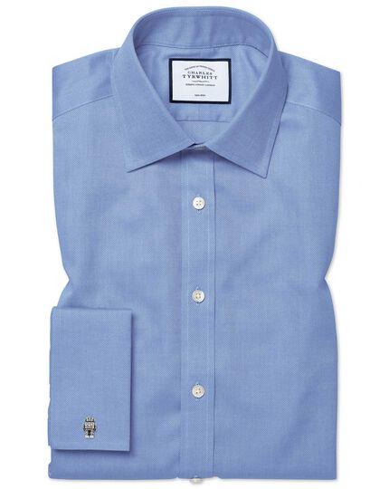 Extra slim fit non-iron blue royal Panama shirt
