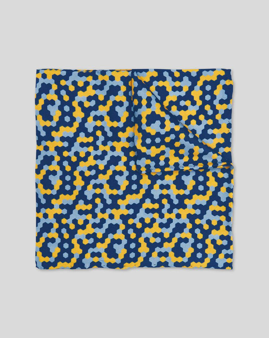 Pixels Print Pocket Square - Gold & Blue