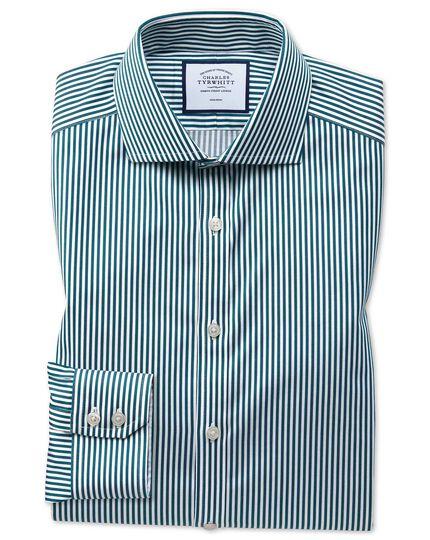 Extra slim fit non-iron cutaway collar teal twill stripe shirt