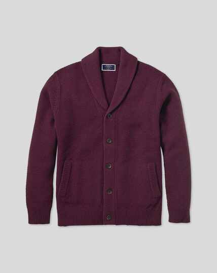 Merino Chunky Honeycomb Shawl Neck Cardigan - Wine