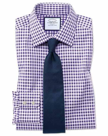 Slim fit non-iron gingham purple shirt